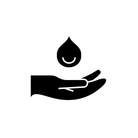 Icône noire des mains hydratantes, signe de vecteur de concept sur fond isolé. Illustration des mains hydratantes, symbole