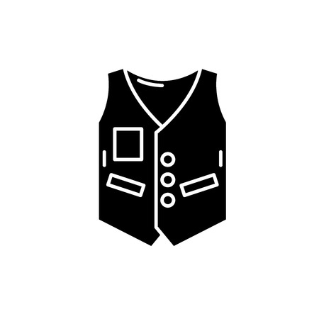 Work vest black icon, concept vector sign on isolated background. Work vest illustration, symbol
