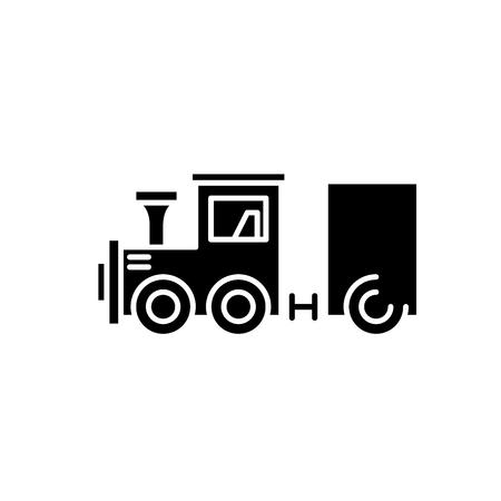 Children's locomotive black icon, concept vector sign on isolated background. Children's locomotive illustration, symbol Archivio Fotografico - 127291297