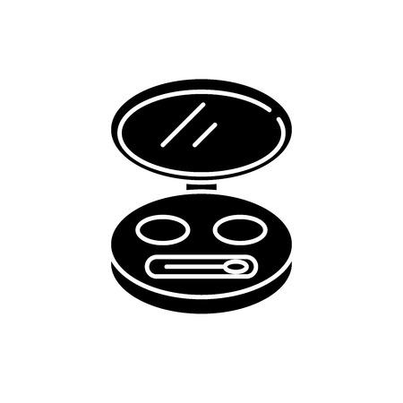 Kosmetiktasche schwarzes Symbol, Konzeptvektorzeichen auf isoliertem Hintergrund. Kosmetiktasche Abbildung, Symbol
