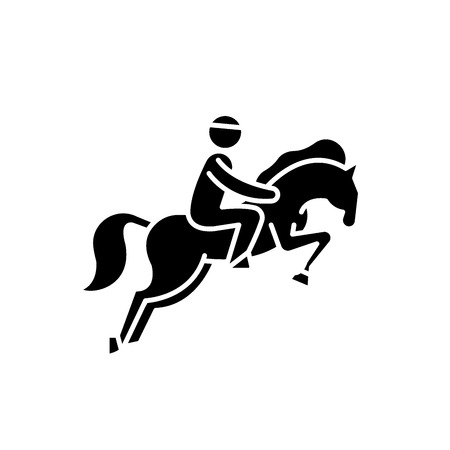 Horse racing black icon, concept vector sign on isolated background. Horse racing illustration, symbol