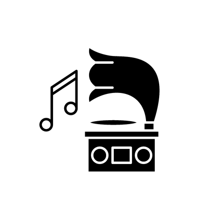 Gramophone black icon, concept vector sign on isolated background. Gramophone illustration, symbol Stock Illustratie