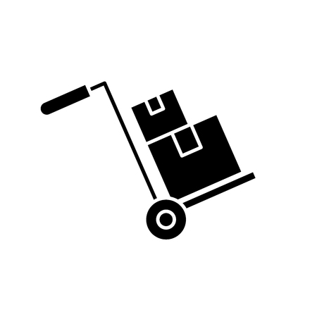 Bulky delivery black icon, concept vector sign on isolated background. Bulky delivery illustration, symbol