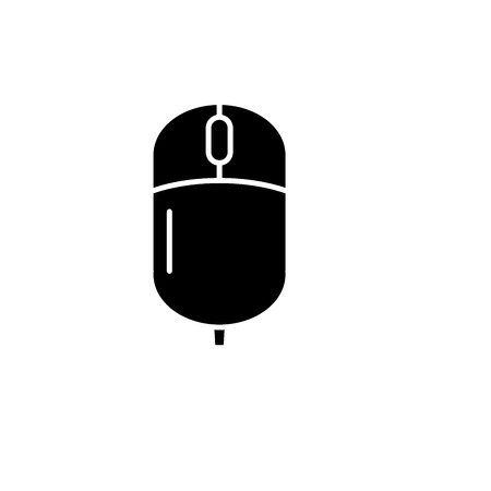 Computer wireless mouse black icon, concept vector sign on isolated background. Computer wireless mouse illustration, symbol