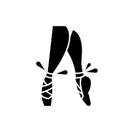 Ballett-Spitzenschuhe schwarzes Symbol, Konzeptvektorzeichen auf isoliertem Hintergrund. Ballett Spitzenschuhe Illustration, Symbol Vektorgrafik