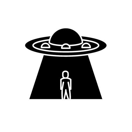 Ufo black icon, concept vector sign on isolated background. Ufo illustration, symbol