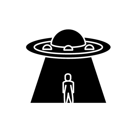 Ufo black icon, concept vector sign on isolated background. Ufo illustration, symbol