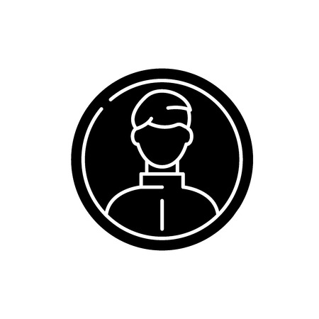 Business profile black icon, concept vector sign on isolated background. Business profile illustration, symbol