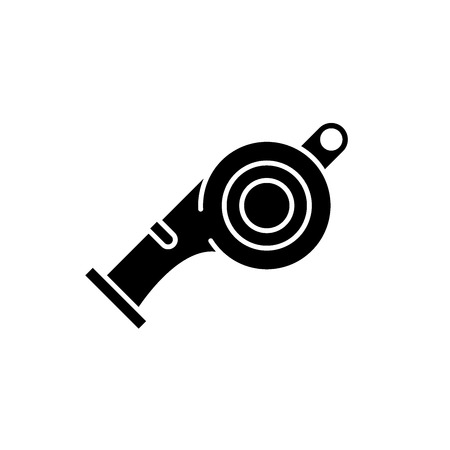 Whistle black icon, concept vector sign on isolated background. Whistle illustration, symbol  イラスト・ベクター素材
