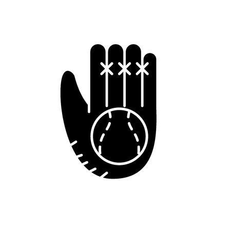 Baseball glove black icon, concept vector sign on isolated background. Baseball glove illustration, symbol Foto de archivo - 127291338