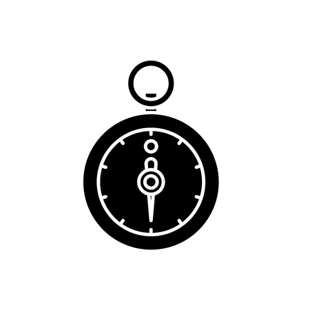 Stopwatch black icon, concept vector sign on isolated background. Stopwatch illustration, symbol
