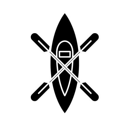 Kayaking boat black icon, concept vector sign on isolated background. Kayaking boat illustration, symbol