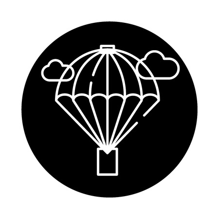Balloon black icon, concept vector sign on isolated background. Balloon illustration, symbol