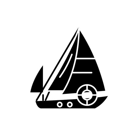 Sailboat black icon, concept vector sign on isolated background. Sailboat illustration, symbol