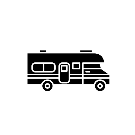 Caravan car black icon, concept vector sign on isolated background. Caravan car illustration, symbol Stock Illustratie
