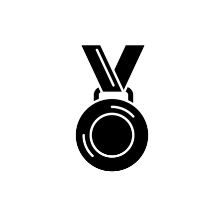 Medal winner black icon, concept vector sign on isolated background. Medal winner illustration, symbol Illustration
