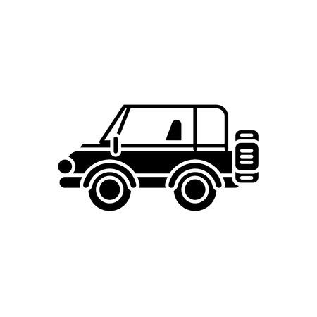 Safari jeep black icon, concept vector sign on isolated background. Safari jeep illustration, symbol