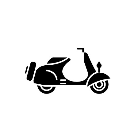Scooter black icon, concept vector sign on isolated background. Scooter illustration, symbol