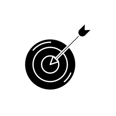 Sporting goal black icon, concept vector sign on isolated background. Sporting goal illustration, symbol