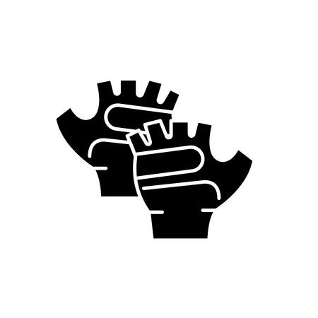 Sport gloves black icon, concept vector sign on isolated background. Sport gloves illustration, symbol