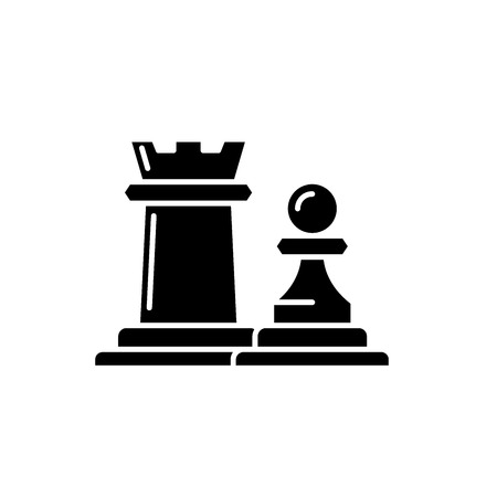 Chess pieces rook and pawn black icon, concept vector sign on isolated background. Chess pieces rook and pawn illustration, symbol