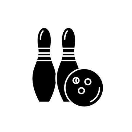 Bowling black icon, concept vector sign on isolated background. Bowling illustration, symbol
