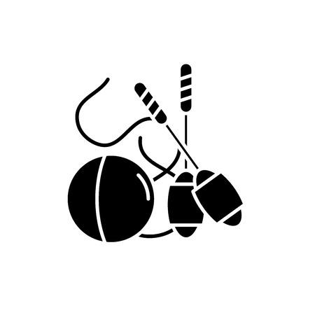 Easy gymnastics black icon, concept vector sign on isolated background. Easy gymnastics illustration, symbol