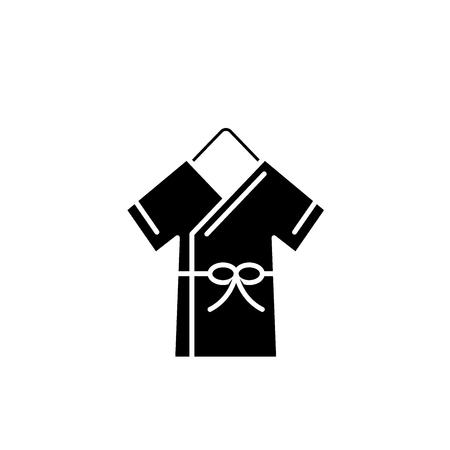 Bathrobe black icon, concept vector sign on isolated background. Bathrobe illustration, symbol