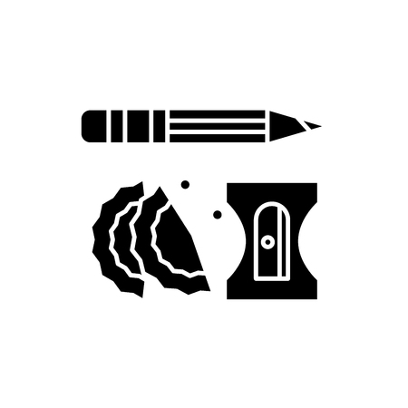 Pencil and sharpener black icon, concept vector sign on isolated background. Pencil and sharpener illustration, symbol
