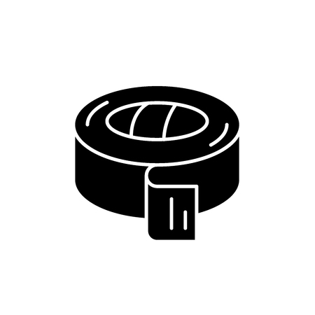 Insulating tape black icon, concept vector sign on isolated background. Insulating tape illustration, symbol