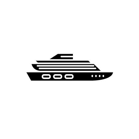 Travel cruise ship black icon, concept vector sign on isolated background. Travel cruise ship illustration, symbol