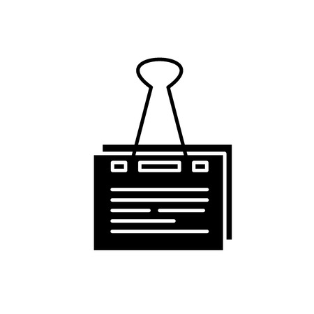Paper peg black icon, concept vector sign on isolated background. Paper peg illustration, symbol Illustration