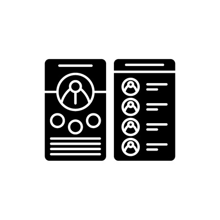 Contact business book black icon, concept vector sign on isolated background. Contact business book illustration, symbol
