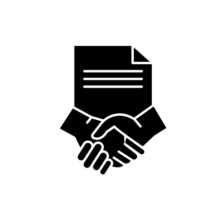 Conclusion of a contract black icon, concept vector sign on isolated background. Conclusion of a contract illustration, symbol Stock Illustratie
