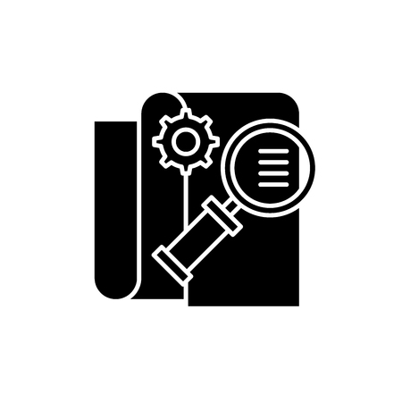 Business intelligence black icon, concept vector sign on isolated background. Business intelligence illustration, symbol