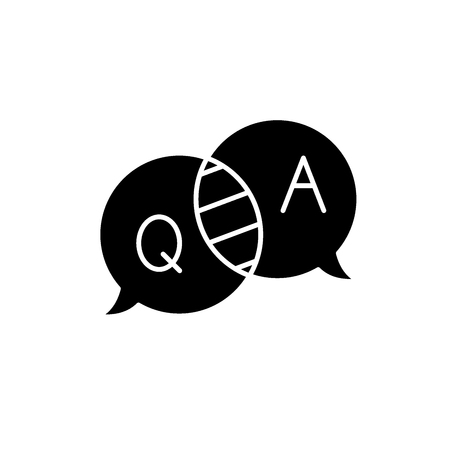 Questions and answers black icon, concept vector sign on isolated background. Questions and answers illustration, symbol
