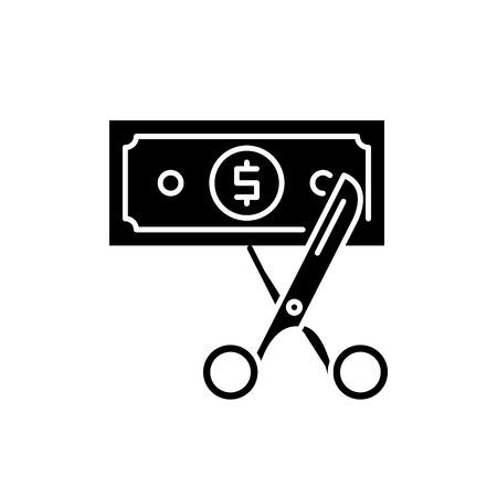 Icône noire d'optimisation des coûts, signe de vecteur de concept sur fond isolé. Illustration d'optimisation des coûts, symbole Vecteurs