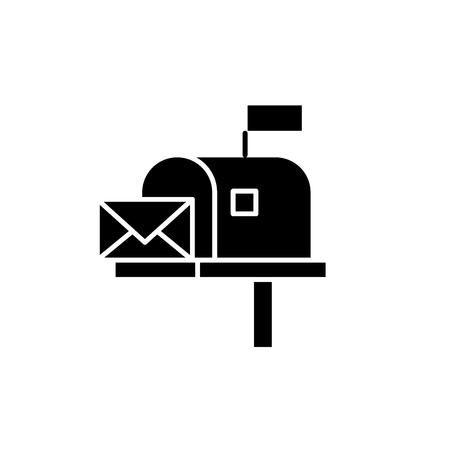 Cassetta postale icona nera, segno del vettore di concetto su sfondo isolato. Illustrazione della cassetta postale, simbolo