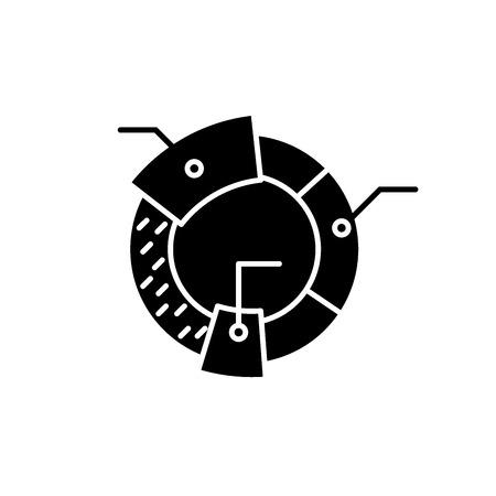 Cohort analysis black icon, concept vector sign on isolated background. Cohort analysis illustration, symbol