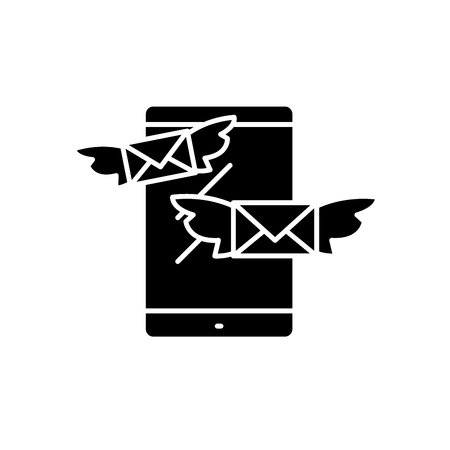 Sending messages black icon, concept vector sign on isolated background. Sending messages illustration, symbol