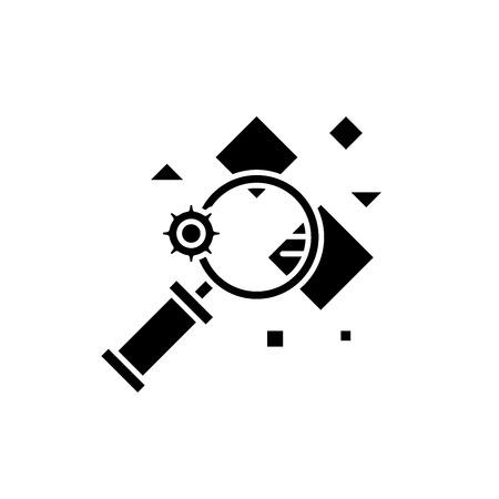 Icône noire de recherche de faits, signe de vecteur de concept sur fond isolé. Illustration de recherche de faits, symbole