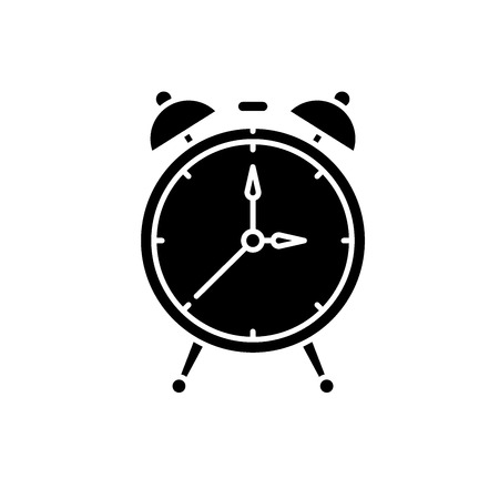 Alarm watch black icon, concept vector sign on isolated background. Alarm watch illustration, symbol Stock Illustratie