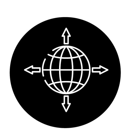 Global sales channels black icon, concept vector sign on isolated background. Global sales channels illustration, symbol Banque d'images - 113530945
