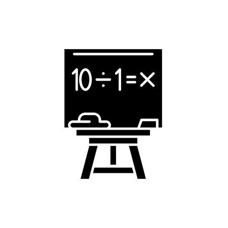 Maths black icon, concept vector sign on isolated background. Maths illustration, symbol