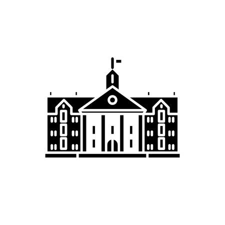University black icon, concept vector sign on isolated background. University illustration, symbol