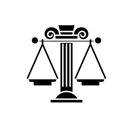 Judicial system black icon, concept vector sign on isolated background. Judicial system illustration, symbol