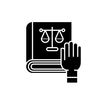 Law and order black icon, concept vector sign on isolated background. Law and order illustration, symbol