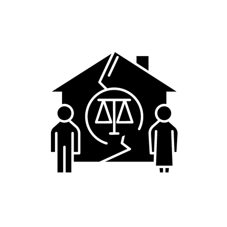 Family divorce black icon, concept vector sign on isolated background. Family divorce illustration, symbol