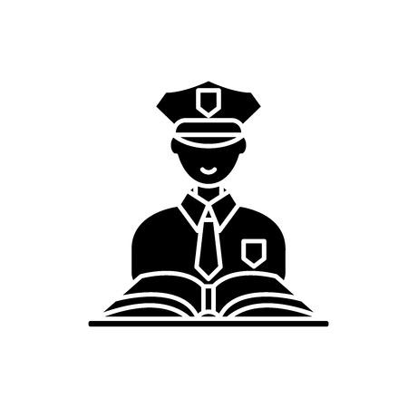 Criminal law black icon, concept vector sign on isolated background. Criminal law illustration, symbol