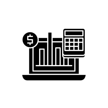 Business indicators black icon, concept vector sign on isolated background. Business indicators illustration, symbol